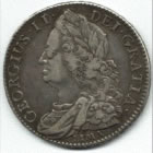 A Lima shilling from the reign of George II.  The word Lima has been included under the king's bust to indicate that the coin was made from silver captured by Admiral Anson.