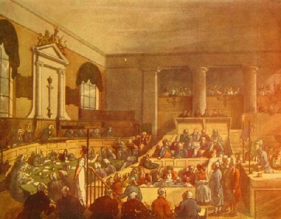 Old Bailey Courtroom, 1809 by Augustus Pugin and Thomas Rowlandson.  A trial is in process.  There is a man testifying on the right;  jurors are seated in tiered boxes in the centre-rear;  spectators are behind them;  council are seated on the left;  and above them the judges are seated on a raised platform, below the windows and the sword of justice on the wall. from WH Pyne and W Combe, The Microcosm of London, or London in Miniature (3 vols, London, 1904), vol.2, facing page 212. Reproduced courtesy of and with thanks to the University of Sheffield