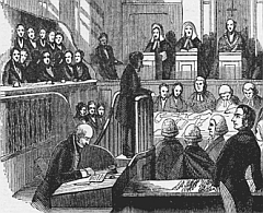 Detail from an 1842 trial scene at the old bailey, depicting court officials, judges, jurymen and lawyers.