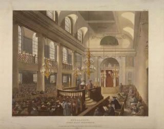 An interior view of the Great Synagogue, Dukes Place, depicting a large, well dressed and serious congregation, with the men in the foreground and women sitting behind on a balcony; from W. H. Pyne and W. Combe, The Microcosm of London, or London in Miniature (1904), vol.3, facing page 167.